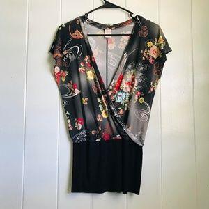 Silk Kimono Front Wrap Blouse